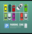 city parking lot with a set vector image