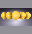 coins of virtual currency bitcoin with glare and vector image vector image