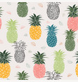 colorful pineapple with leaves seamless pattern vector image