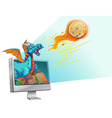 Computer screen with dragon and comet vector image vector image