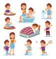 daily mother happy children play with mom and vector image vector image