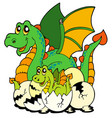 dragon mom with baby and eggs vector image