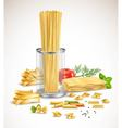 dry pasta assortment herbs realistic poster vector image vector image