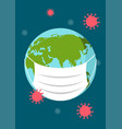 earth with medical mask vector image