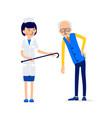 elderly man leaned from lower back pain he holds vector image