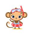 flat cute cartoon summer monkey vector image
