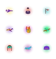 Flying vehicles icons set pop-art style vector image vector image