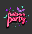 halloween party pink message with colorful bat vector image vector image
