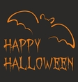 Happy Halloween dark party card with orange bat vector image vector image