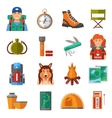 Hiking Flat Color Icons Set vector image vector image