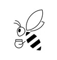 honey bee outline icon isolated on white vector image