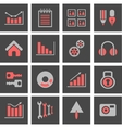 Icons with charts and graphs vector image