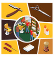 isometric barber shop elements composition vector image