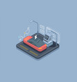 isometric electric car parking charging station vector image