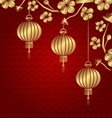 Japanese or Chinese Golden Background with vector image