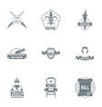 kingship logo set simple style vector image vector image
