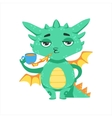 Little Anime Style Baby Dragon Warming Up Tea With vector image vector image