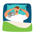 man sleeping in bed with cat vector image vector image
