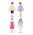 men and women cartoon characters standing isolated vector image