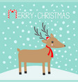 merry christmas candy cane reindeeer head cute vector image vector image