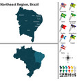 northeast region of brazil vector image vector image