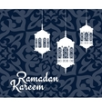 Ramadan Kareem greeting card with arabic lanterns vector image vector image