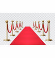 red carpet with a golden barrier for vip events vector image vector image