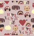 seamless pattern with valentines day elements on vector image vector image