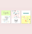 set artistic hand drawn creative greeting cards vector image