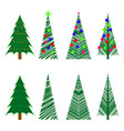 set christmas trees icons with decoration vector image