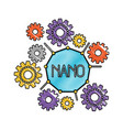 set gear machinery around of nano molecule in vector image vector image