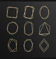 set gold geometrical frame polyhedron line art vector image vector image