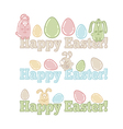 Set of easter symbols - eggs bunnies greeting