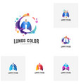 set of lungs with colorful logo health lungs vector image vector image