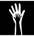 small and big hands vector image