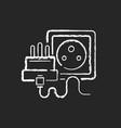 socket chalk white icon on black background vector image vector image