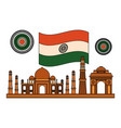 taj mahal indian and mosques with flag vector image