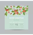 Vintage Holly Berry Christmas Card - Winter vector image vector image