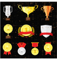 different cups set on black background golden vector image