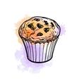 Muffin with raisins vector image
