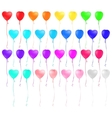 Set of heart shaped colorful balloons vector image