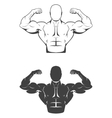Strong bodybuilder man with perfect abs shoulders vector image