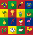 brazil summer set of flat icons cartoon and vector image
