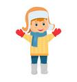 cartoon boy in fur hat vector image