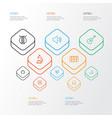 music outline icons set collection of audio level vector image