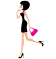 woman in a black dress vector image