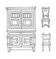 Antique furniture set - closet and chairs isolated