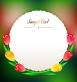 beautiful round greating card with spring flowers vector image vector image