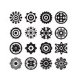 black isolated different style flower icons set vector image