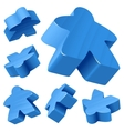 blue wooden meeple set vector image vector image